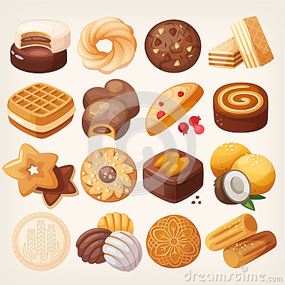 Free Cookies And Biscuits Icons Set. Stock Photos - 73640433