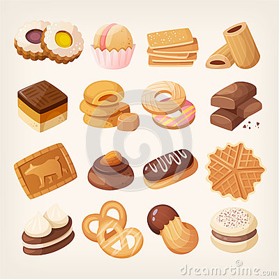 Free Cookies And Biscuits Icons Set Royalty Free Stock Photo - 85920895