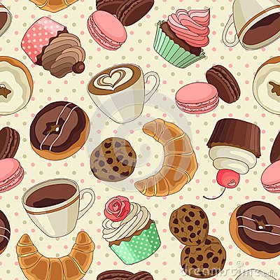 Free Cookies And Coffee Pattern, Light Yellow Royalty Free Stock Images - 49396949