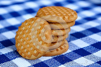 Cookies on a blue checkered tablecloth