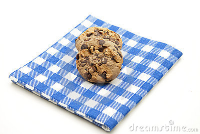 Cookies on checked table cloth