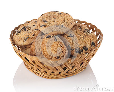 Cookies with chocolate in the basket