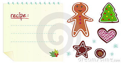 Cookies or christmas icons with recipe