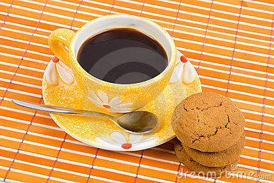 Cookies and cup with coffee