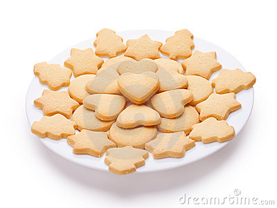 Cookies with different shapes on plate
