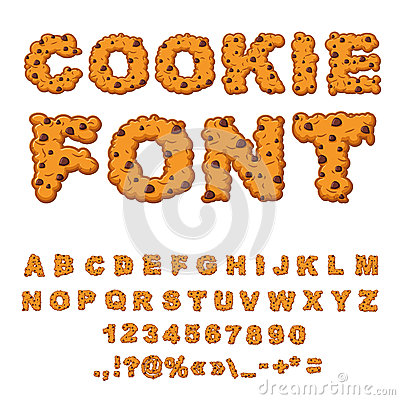 Free Cookies Font. Biscuits With Chocolate Drops Alphabet. Letters Of Stock Photos - 78635763
