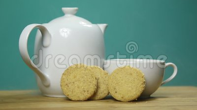 Cookies and tea stock video footage