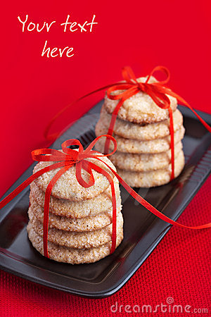 Cookies tied with red ribbon