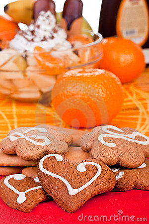 Free Cookies With Fruits In Background Stock Images - 13898144