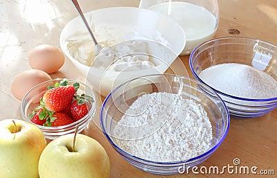 Cooking cake ingredients