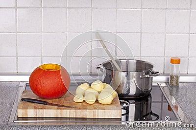 Cooking hokkaido pumpkin soup