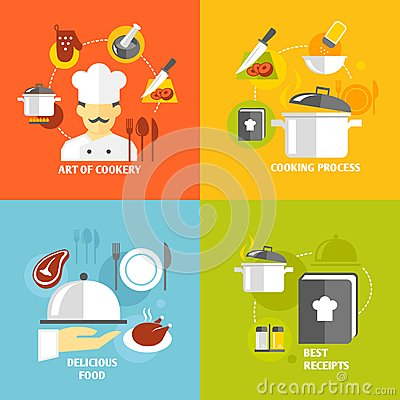 Cooking icons flat stock vector image 40174991 for Art cuisine evolution 10 piece cooking set