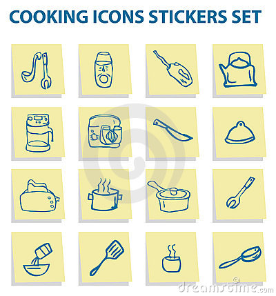Cooking icons set kitchen