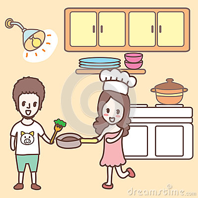 cooking in the kitchen cartoon stock vector image 44173814