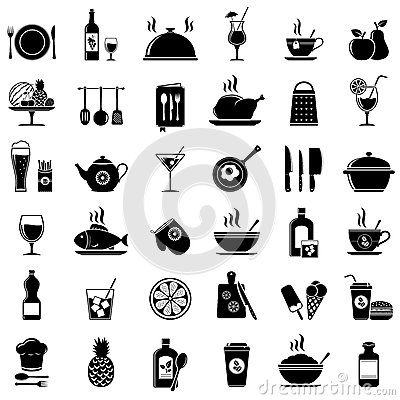 Free Cooking, Kitchen Tools, Food And Drinks Icons Royalty Free Stock Photos - 93009108