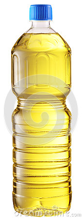 Cooking oil in a plastic bottle.