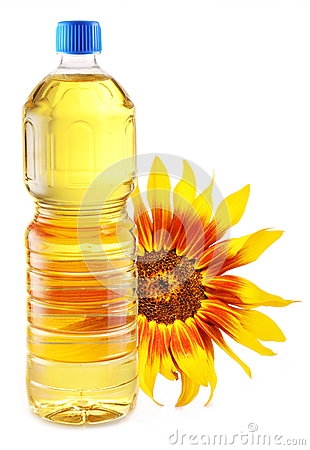Cooking oil in a plastic bottle with sunflower.