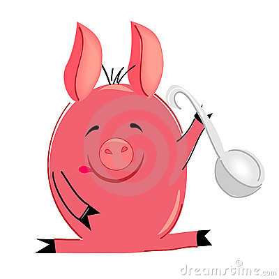 Cooking pig illustration. isolated character