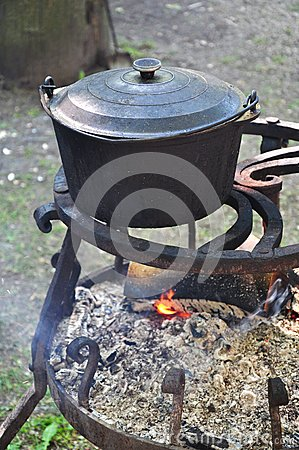 Cooking pot on fire
