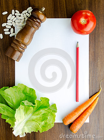 Cooking recipe on kitchen table