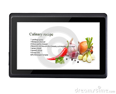 Cooking recipe on tablet pc isolated