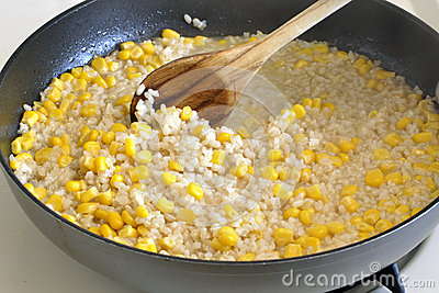 Cooking rice and corn