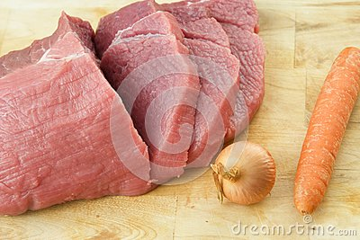 The cooking steak