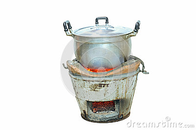 Cooking stove with a pot