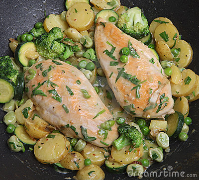 Cooking Tarragon Chicken in Pan