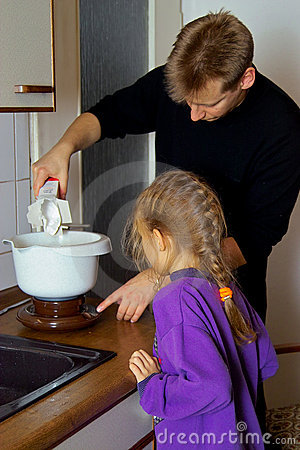 Cooking together with father