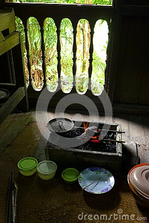 Cooking utensils in Ethnic Malay kitchen