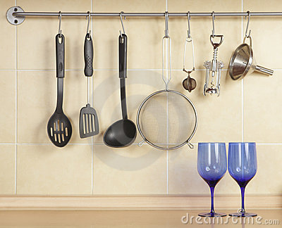 Cookware and blue glass