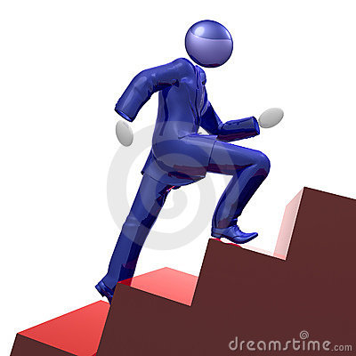 Cool 3d businessman icon climbing the stairs