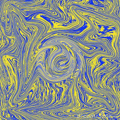 Cool abstract liquid texture. combination of blue and yellow Cartoon Illustration