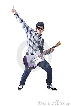 Free Cool Asian Guy Plays With His Guitar Royalty Free Stock Photos - 22335568