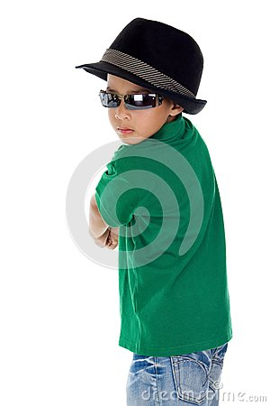 Cool boy with sunglasses and hat