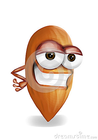 Free Cool Brown Almond Cartoon Character, Sly Eyes Stock Photo - 39397190