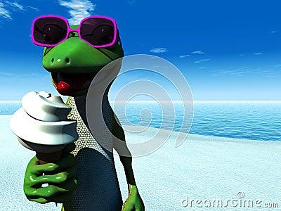 Cool cartoon gecko eating ice cream on the beach.
