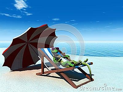 Cool cartoon gecko relaxing on the beach.