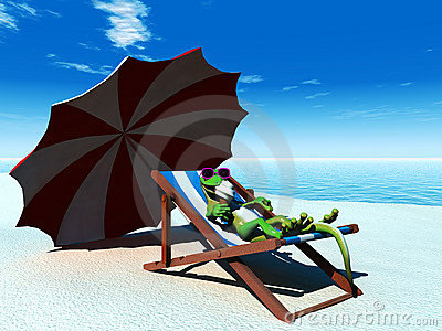 Cool cartoon gecko relaxing on the beach.