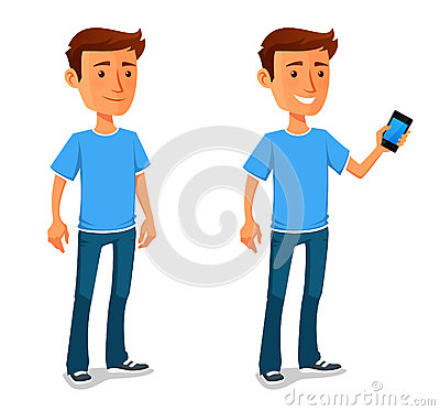 Free Cool Cartoon Guy With Cell Phone Royalty Free Stock Photo - 53175825