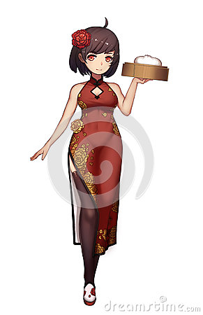 Free Cool Characters Series: Manga Chinese Girl With Slit Skirt Isolated On White Background Royalty Free Stock Image - 88404056