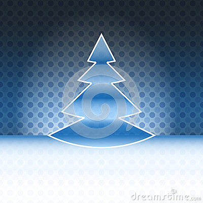 Cool christmas tree blue spotted background