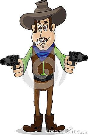 Cool cowboy with gun vector