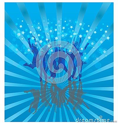 Cool dance on blue