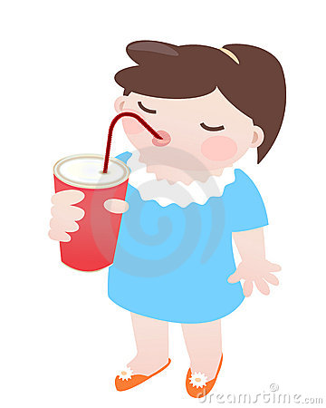 Little girl drinking soda wiht a straw on a white background.