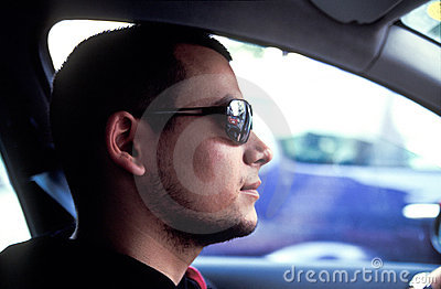 Cool driver with sunglasses