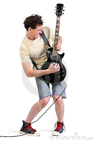 Cool dude guitarist playing his electric guitar