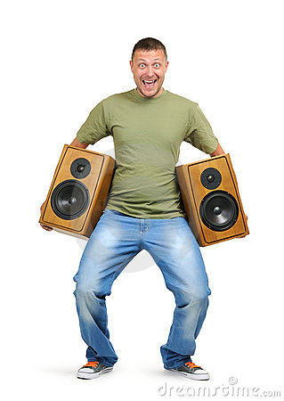 Cool dude with two speakers on white