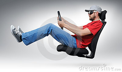 Cool dude with the wheel flies on an office chair